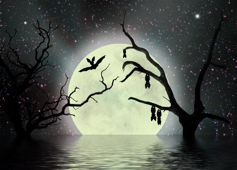 Scary night, fantasy background stock image