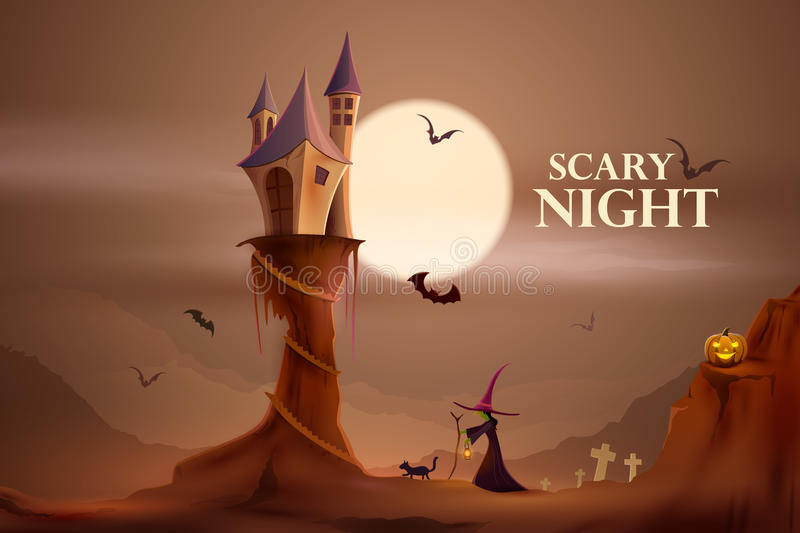 Scary night Halloween holiday background stock illustration