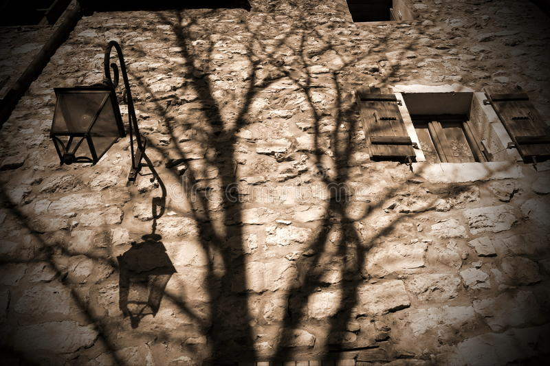 Scary Old Brick Wall And Shadow Stock Image Image Of
