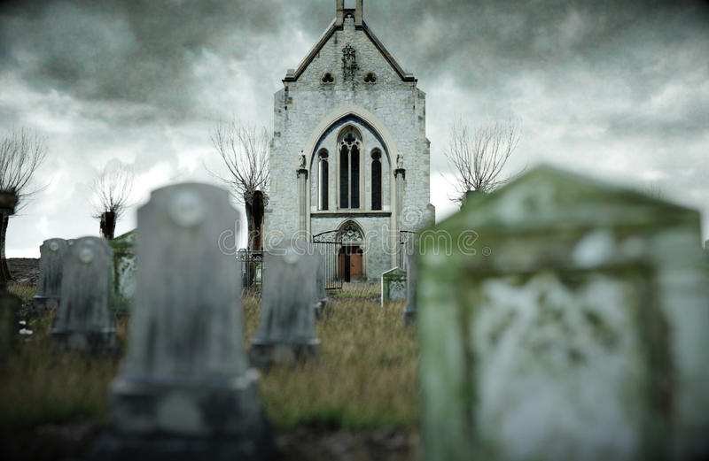 Scary Old Cemetery. Church On Grave. Halloween Concept. 3d ...