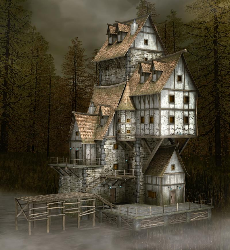 Fearful haunted house by a lake. Scary and old witch house in the black foggy fir forest royalty free illustration
