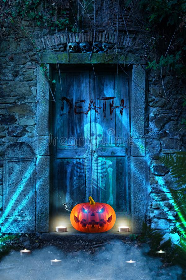 Scary orange halloween pumpkin with glowing eyes in front of hell`s door royalty free illustration