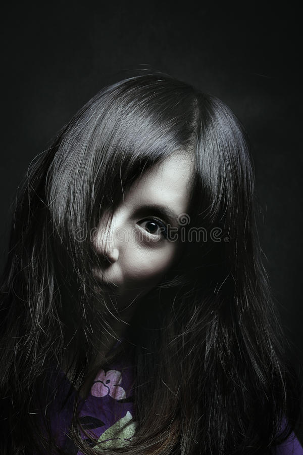 Scary portrait of japanese woman stock photography