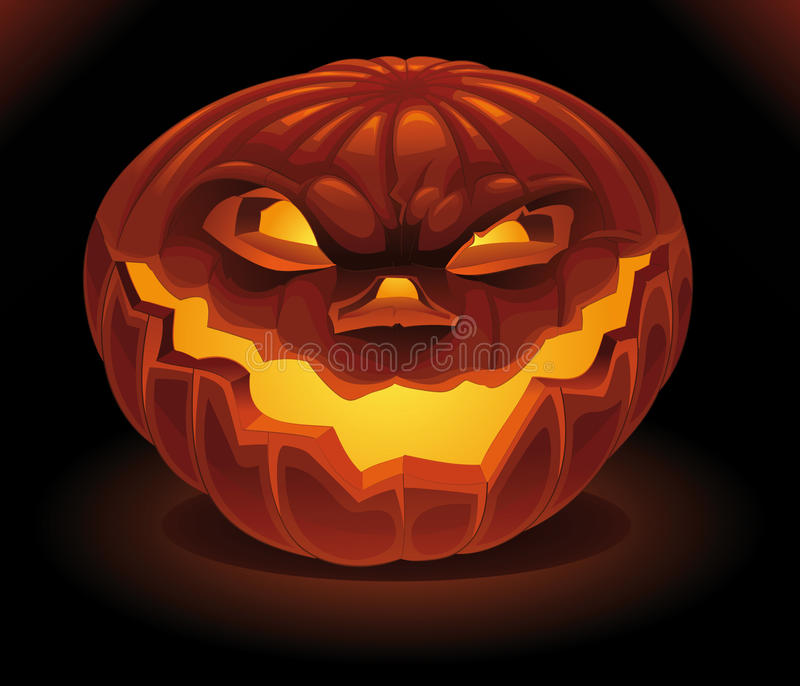 Scary Pumpkin in the dark. royalty free stock photography