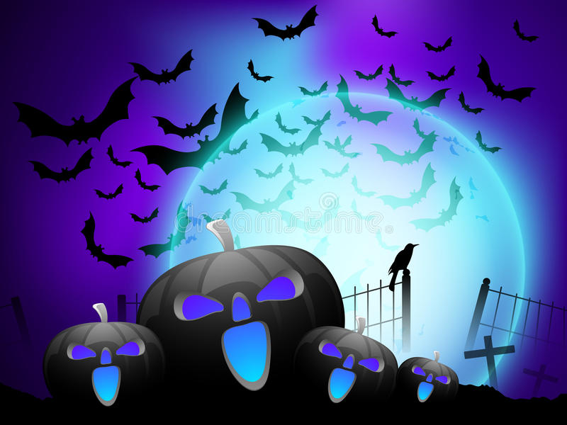 Scary pumpkin in the Halloween night background. stock illustration