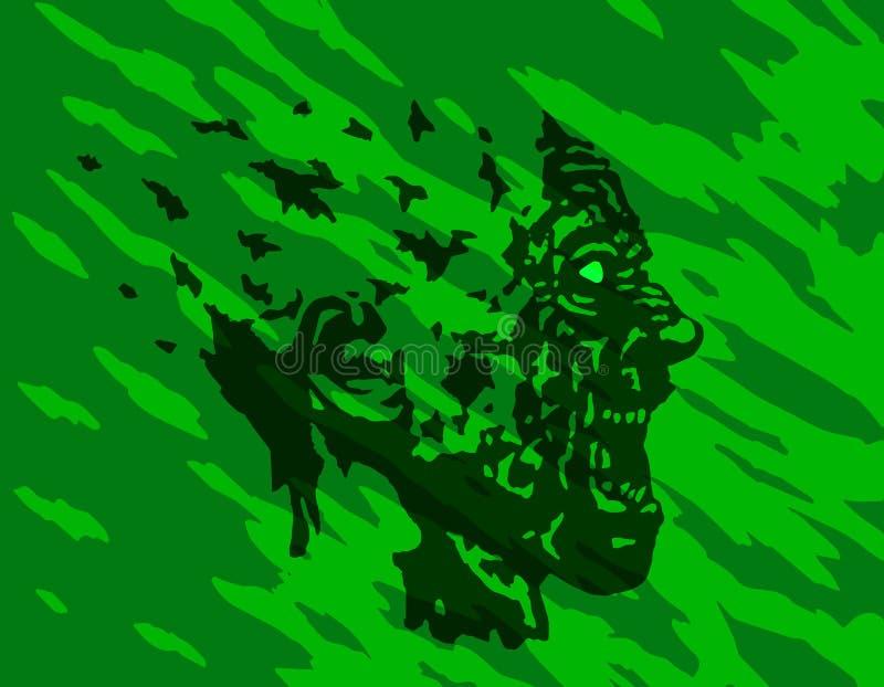 Scary screaming grim demon profile. Vector illustration. The horror genre. Green color background vector illustration