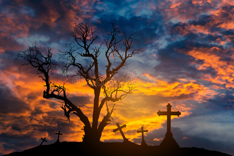 Scary silhouette dead tree and spooky crosses with halloween concept royalty free stock photos