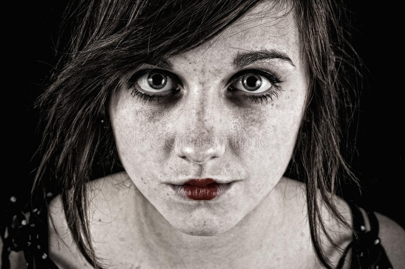 Scary sinister woman royalty free stock image