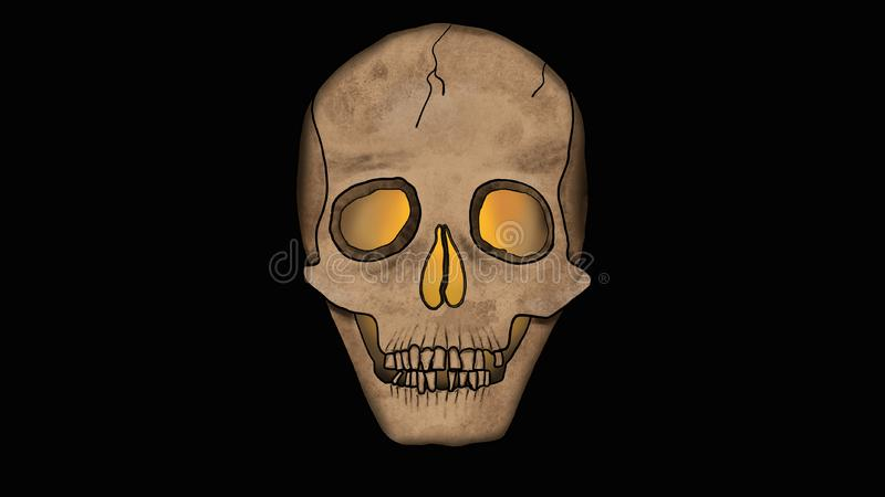 Scary Skull glowing from the inside isolated on Black - Spooky Illustration in Cartoon Style royalty free illustration
