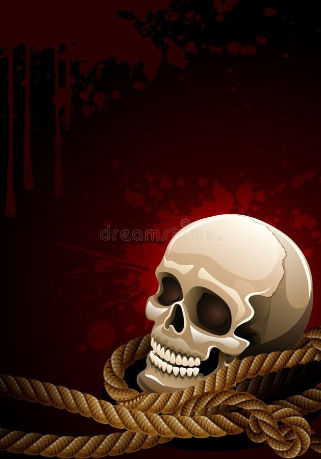 Scary skull head among rope royalty free illustration