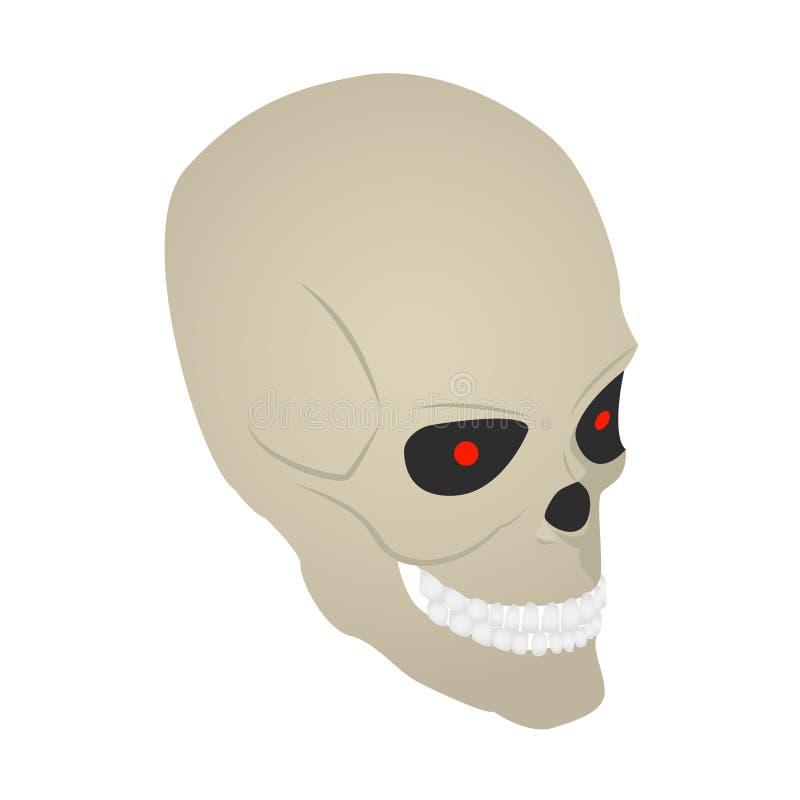 Scary skull icon, isometric style royalty free illustration