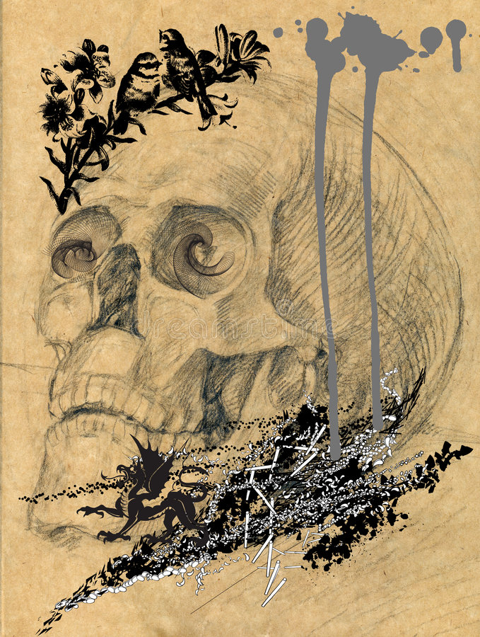 Scary skull picture 1. Scary alchemists still life with skull - mixed media picture, halloween theme royalty free illustration