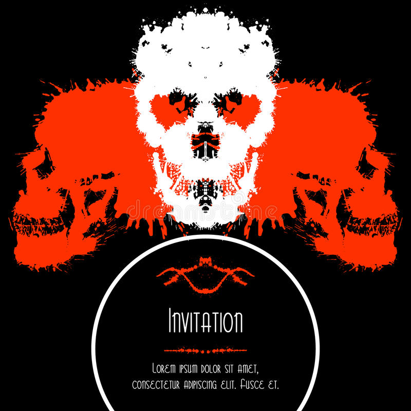 Scary Skulls Invitation or Postcard for Halloween. Party. Blobs silhouettes card design royalty free illustration