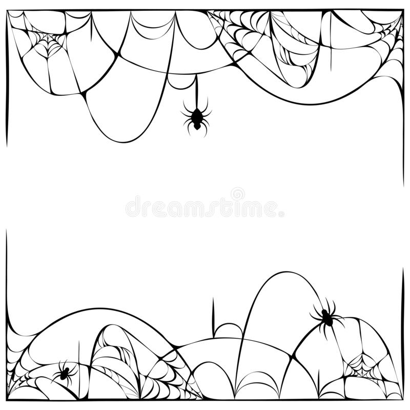 Free Scary Spider Web Background With Hanging Spiders Isolated On White. Cobweb Frame. Halloween Party Template Or Decoration Element. Stock Photos - 158132533