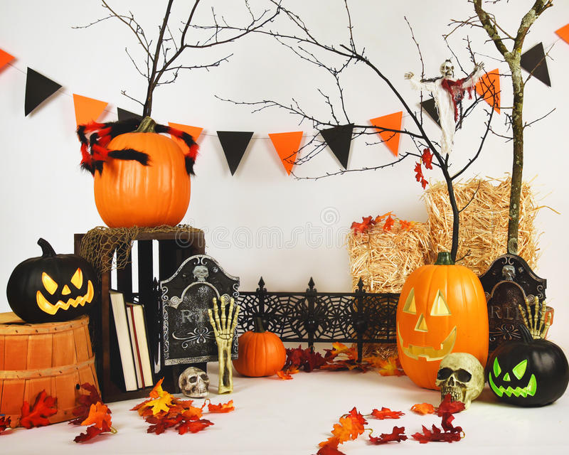 Scary Studio Halloween Background Scene on White stock photos