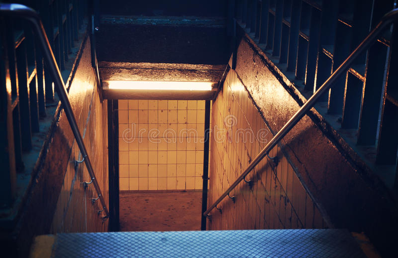 Scary Subway Stairs royalty free stock image