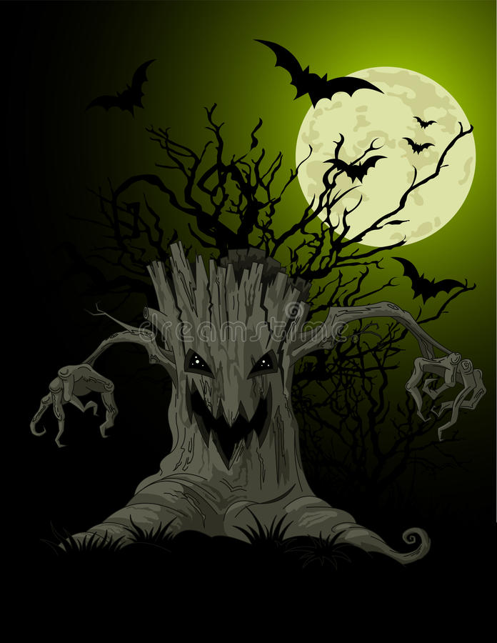 Download Scary tree background stock vector. Image of art, spooky - 27020889