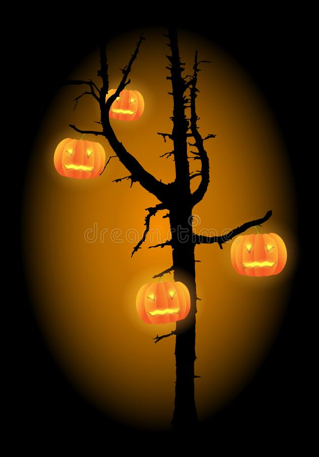 Scary tree vector with hanging haloween carved pumpkins. royalty free illustration