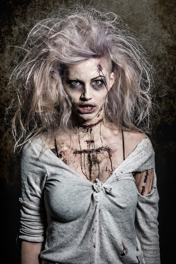 Scary undead zombie girl stock images