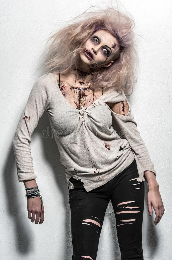 Scary undead zombie girl royalty free stock image
