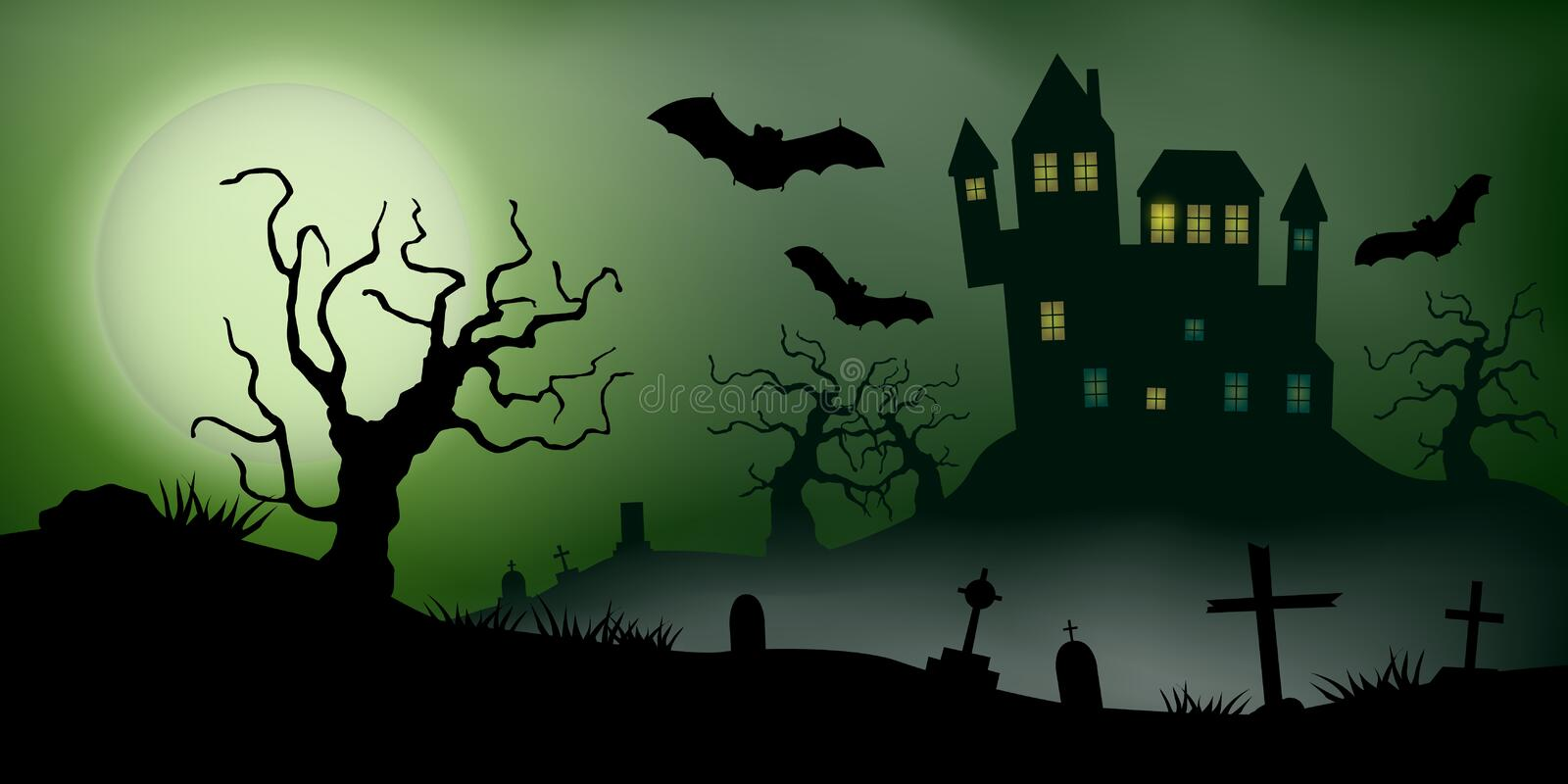 Scary vector haloween landscape with a haunted house, a graveyard and flying bats in full moon.  vector illustration