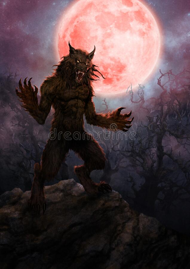 Free Scary Werewolf With Full Moon - Digital Illustration Stock Photo - 197460520