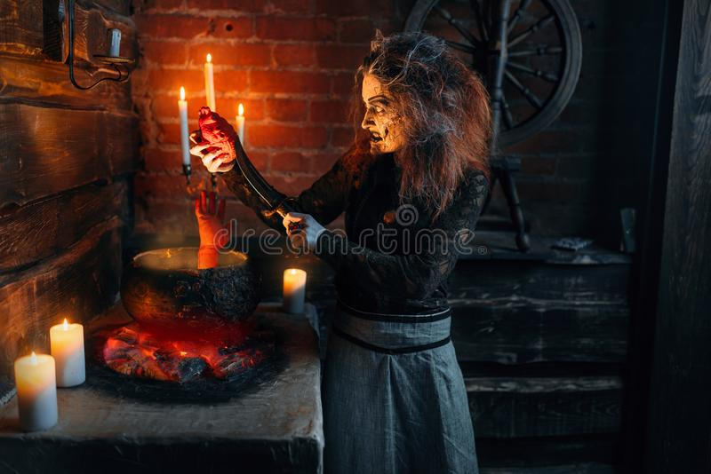 Scary witch cooking soup with human body parts. Dark powers of witchcraft, spiritual seance with candles. Female foreteller calls the spirits, terrible future stock image