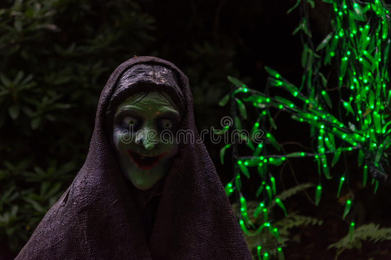 Scary witch in dark background with green fairy lights royalty free stock photo
