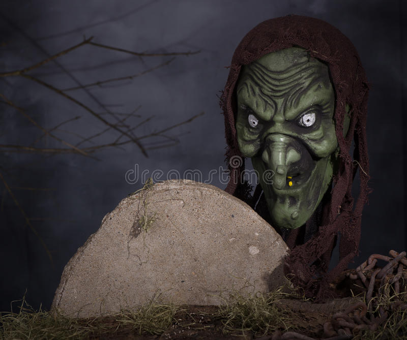 Scary Witch. Scary halloween witch on a foggy background stock photos