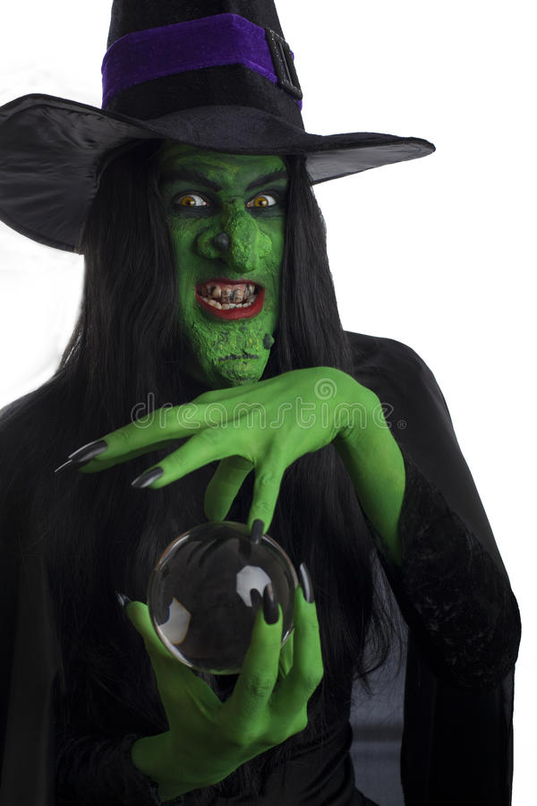 Scary Witch With Her Crystal Ball. Stock Image - Image of costume, magic: 26458219