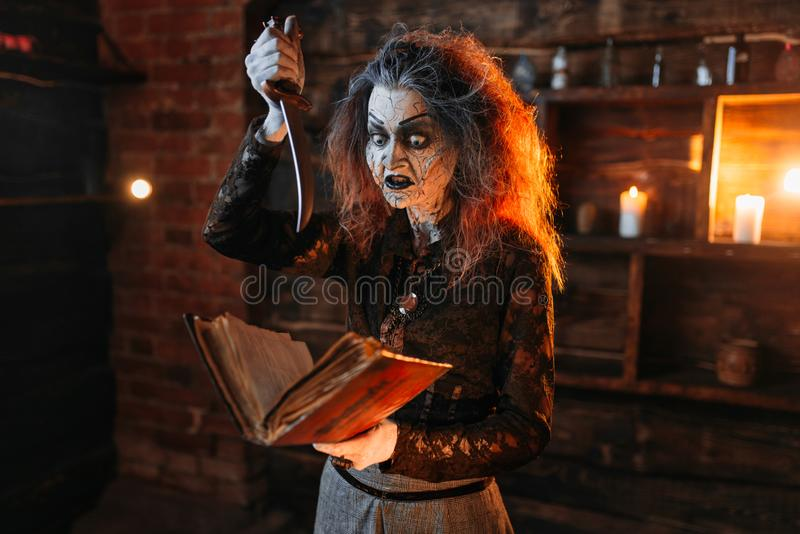 Scary witch holds spellbook and knife. Dark powers of witchcraft, spiritual seance. Female foreteller calls the spirits, terrible future teller stock images