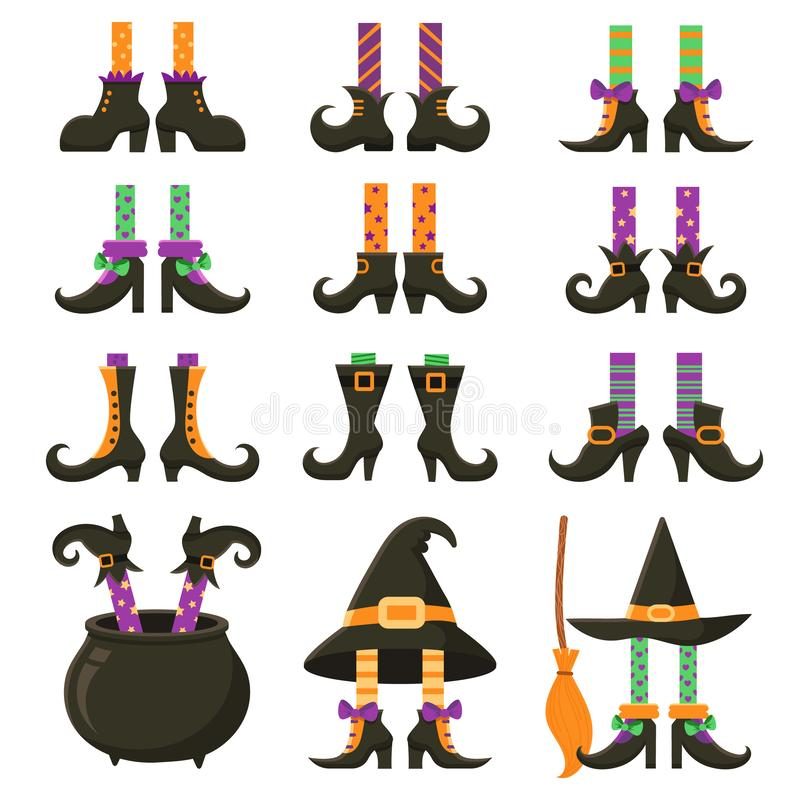 Scary witch legs. Halloween witches leg stockings and striped dress. Vintage witchcraft cauldron and feet boots cartoon stock illustration