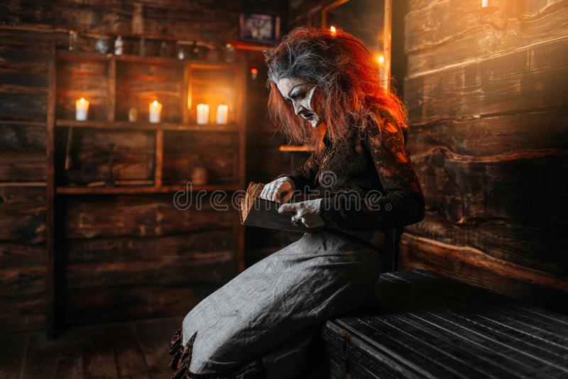 Scary witch reads spellbook, spiritual seance. Scary witch reads spellbook, dark powers of witchcraft, spiritual seance. Female foreteller calls the spirits royalty free stock image