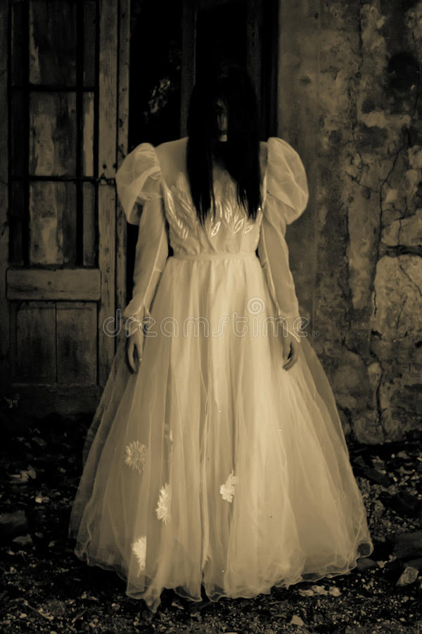 Scary Womans Ghost. Horror Scene of a Scary Woman - Ghost royalty free stock images