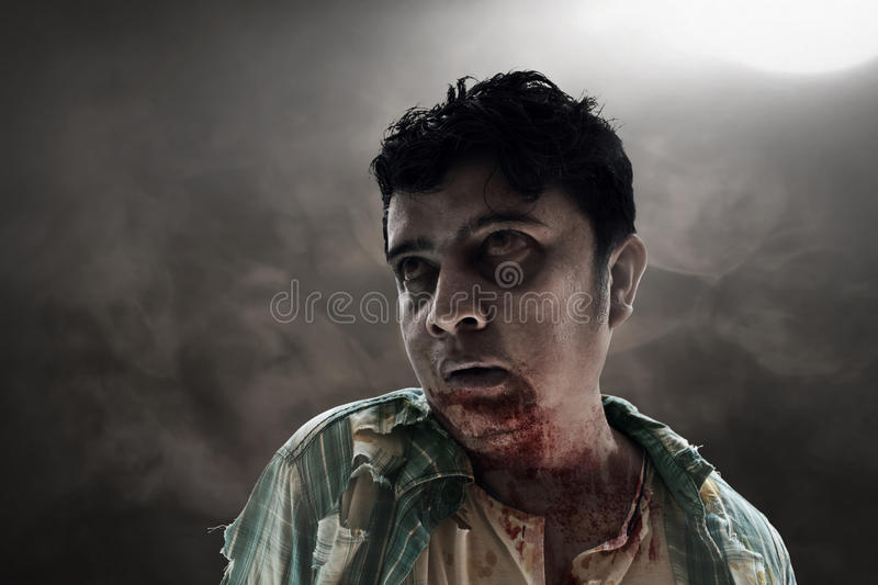Scary zombie on dark room. Hungry scary zombie on dark room royalty free stock images
