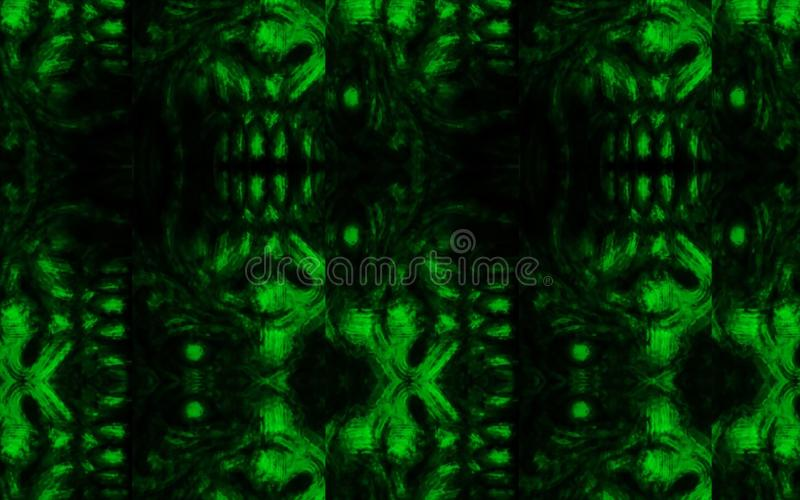 Scary zombie face pattern on black background stock illustration