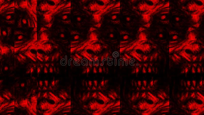 Scary zombie face pattern on black background vector illustration