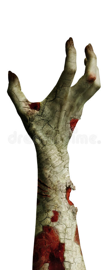 Scary zombie hand with dirty fingers isolated on white stock illustration