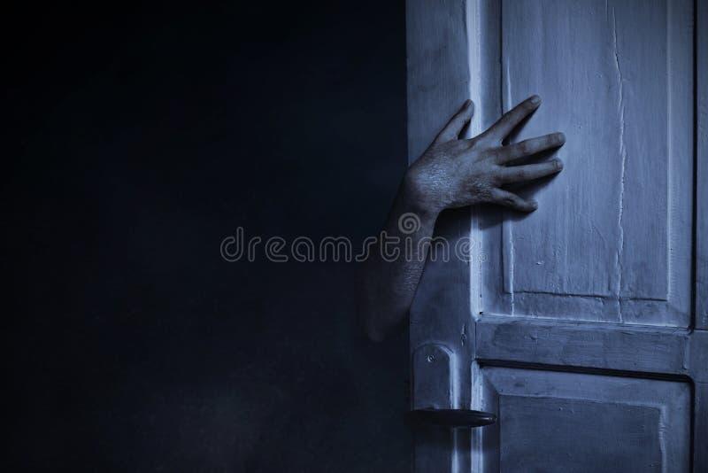 Scary zombie hand, halloween theme stock photography