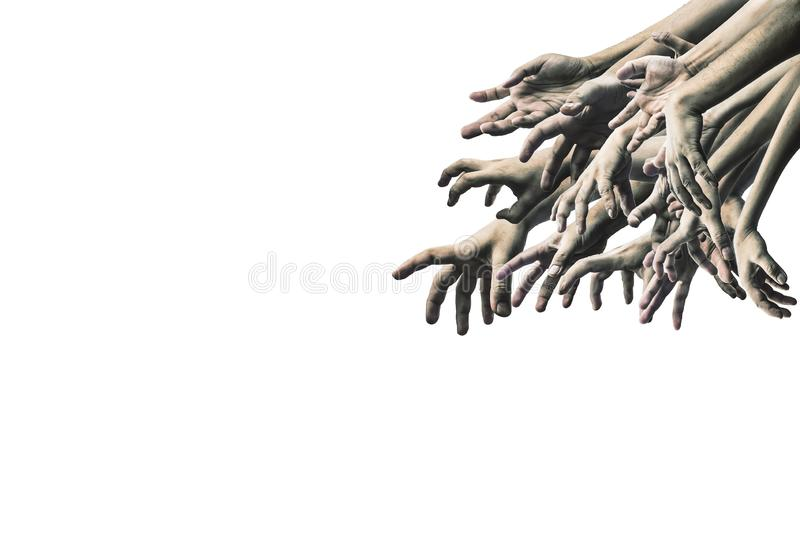 Scary zombie hand isolated on white background stock photos