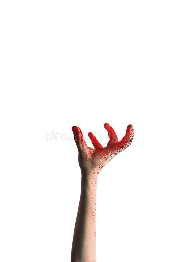 Scary zombie hand isolated on white background royalty free stock photo
