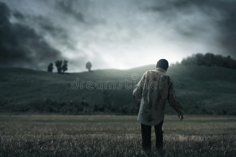Scary zombie man walking outdoor royalty free stock photography