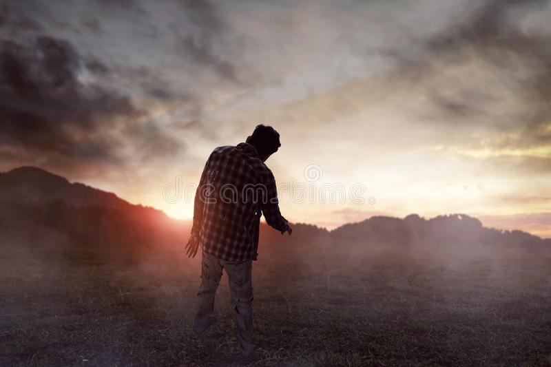 Scary zombie man walking outdoor stock image