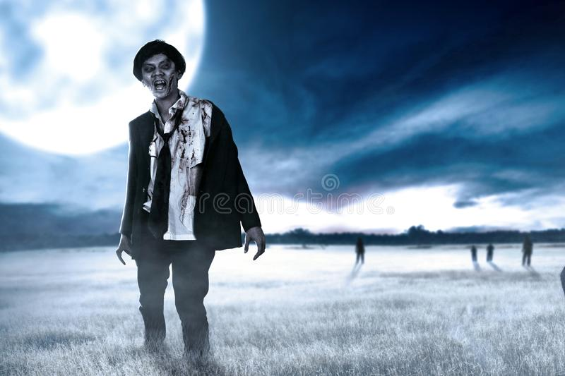 Scary zombies with blood and wound on his body walking around on the grass field. With moonlight. Halloween concept royalty free stock photo
