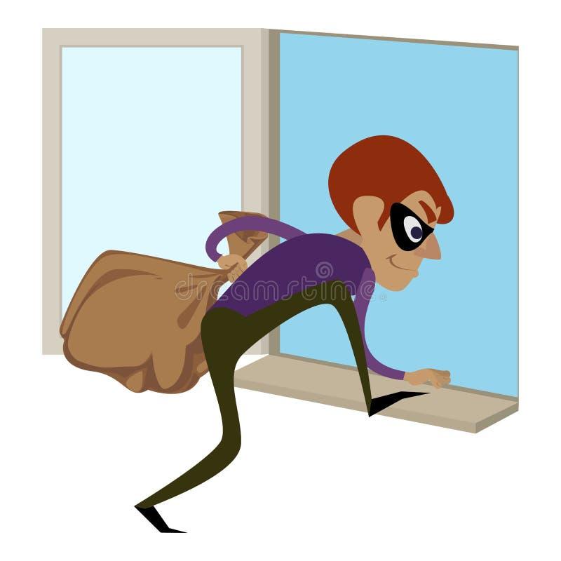 Scassinatore attraverso l'icona della finestra, stile del fumetto illustrazione di stock