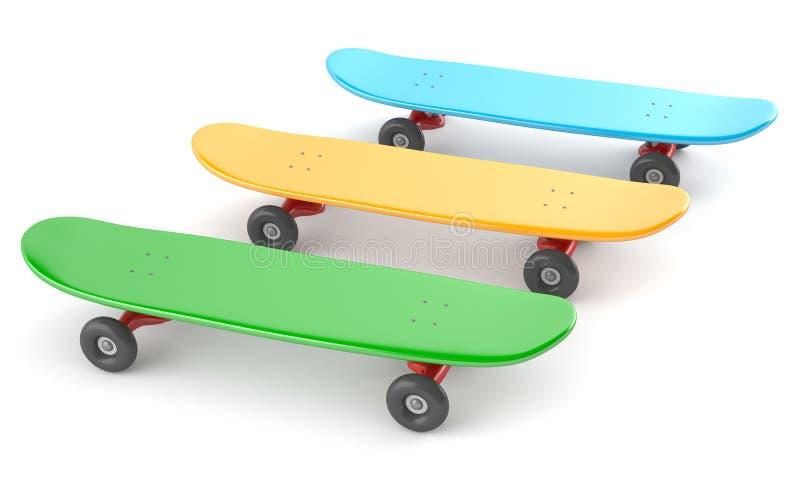 Download Scateboards τρία χρώματος απεικόνιση αποθεμάτων. εικονογραφία από αντικείμενο - 22787428