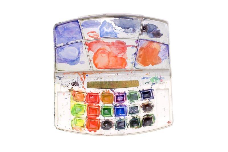 Scatola aperta di vernici del water-colour. fotografia stock libera da diritti