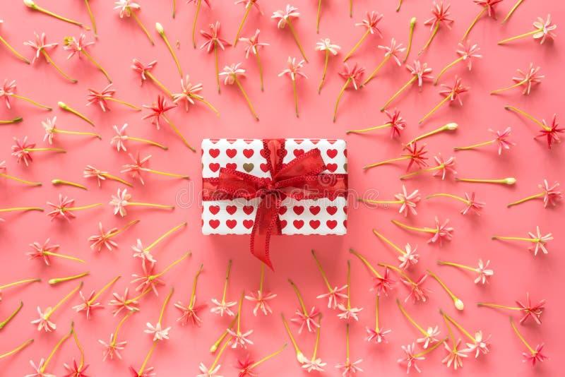 Scatola attuale con l'arco rosso sul piccolo fondo rosa dei fiori fotografia stock libera da diritti