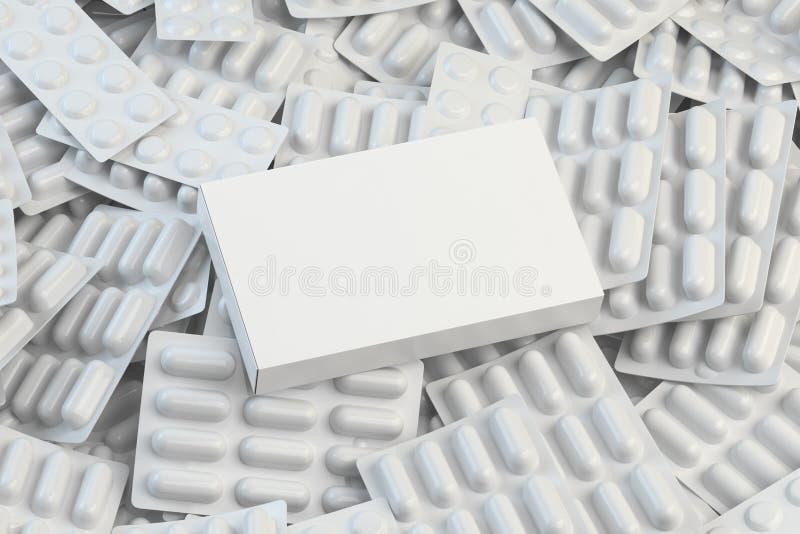 Scatola bianca in bianco per le pillole sul mucchio delle bolle bianche delle pillole e delle capsule Modello medico fotografia stock libera da diritti