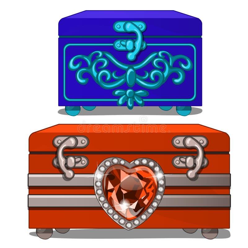 Scatola blu con l'ornamento e scatola rossa con cuore vermiglio royalty illustrazione gratis